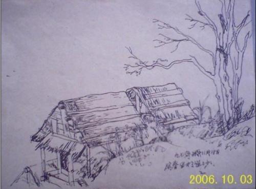 手绘重庆山城线稿