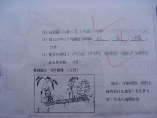 单元测试卷(三)上的看图写话:开心的小兔