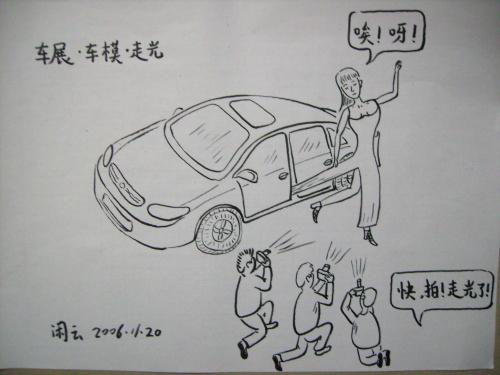 车展俯视图手绘