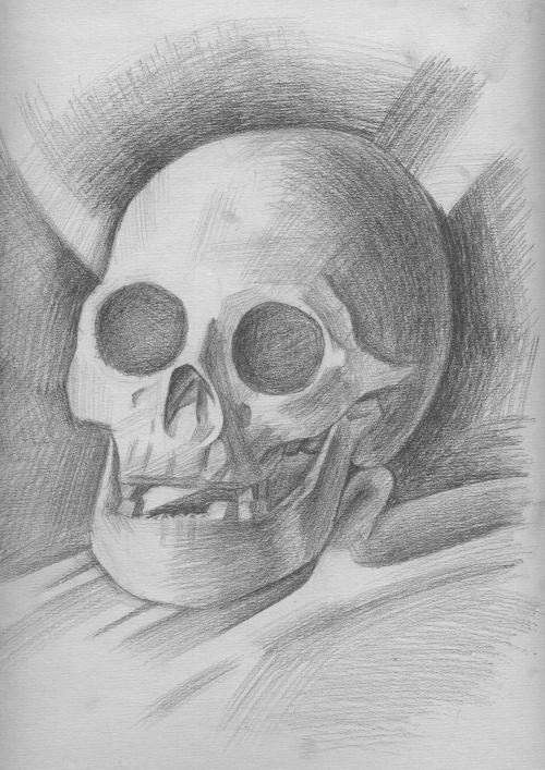 素描---骷髅头-棋魂----为了远古的过去和遥远的未来