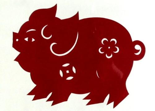 简单剪纸猪步骤图解法