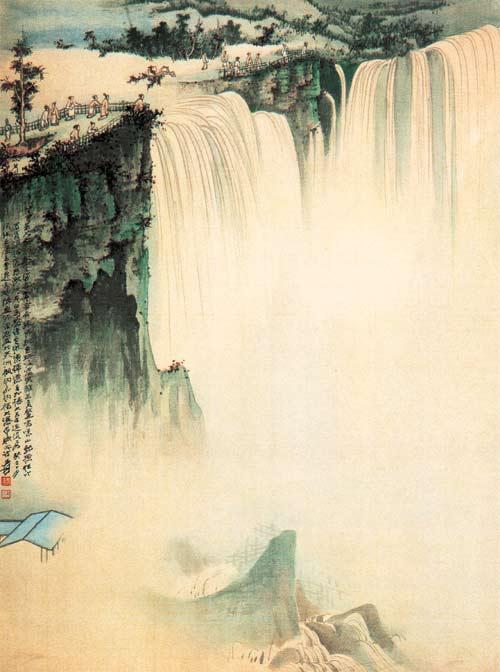 壁纸 风景 国画 旅游 瀑布 山水 桌面 500_672 竖版 竖屏 手机