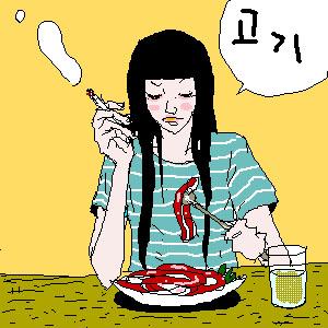 吃美食卡通素材