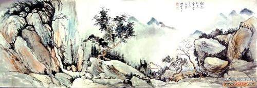 古风花树枝手绘