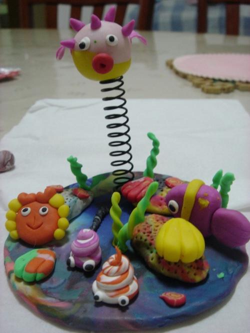 海底动物彩泥作品