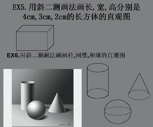 注意点.(继续强化画功~~) ex6.画出圆柱圆锥和球的直观图.