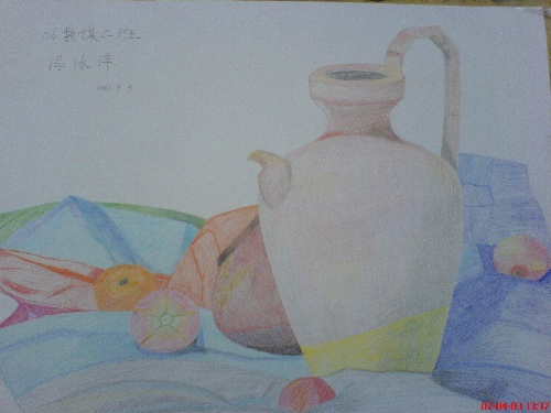 橘子彩铅画步骤图片
